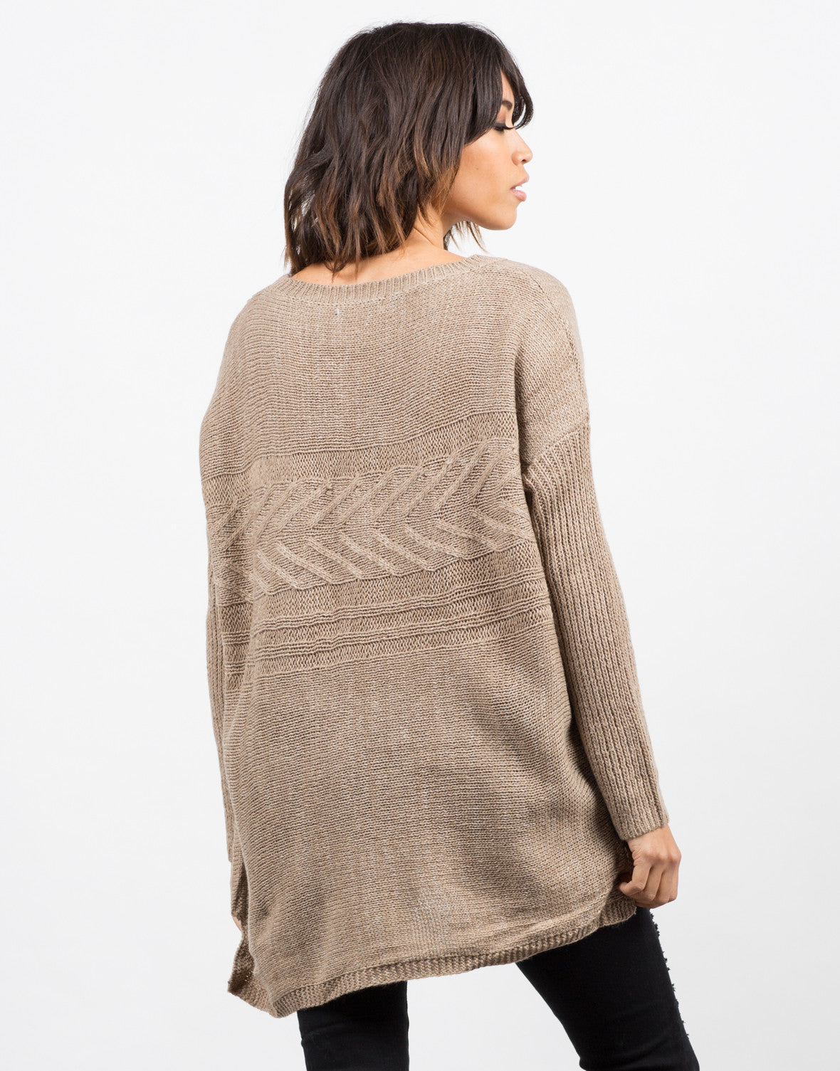 Back View of Lightweight Oversized Knit Sweater