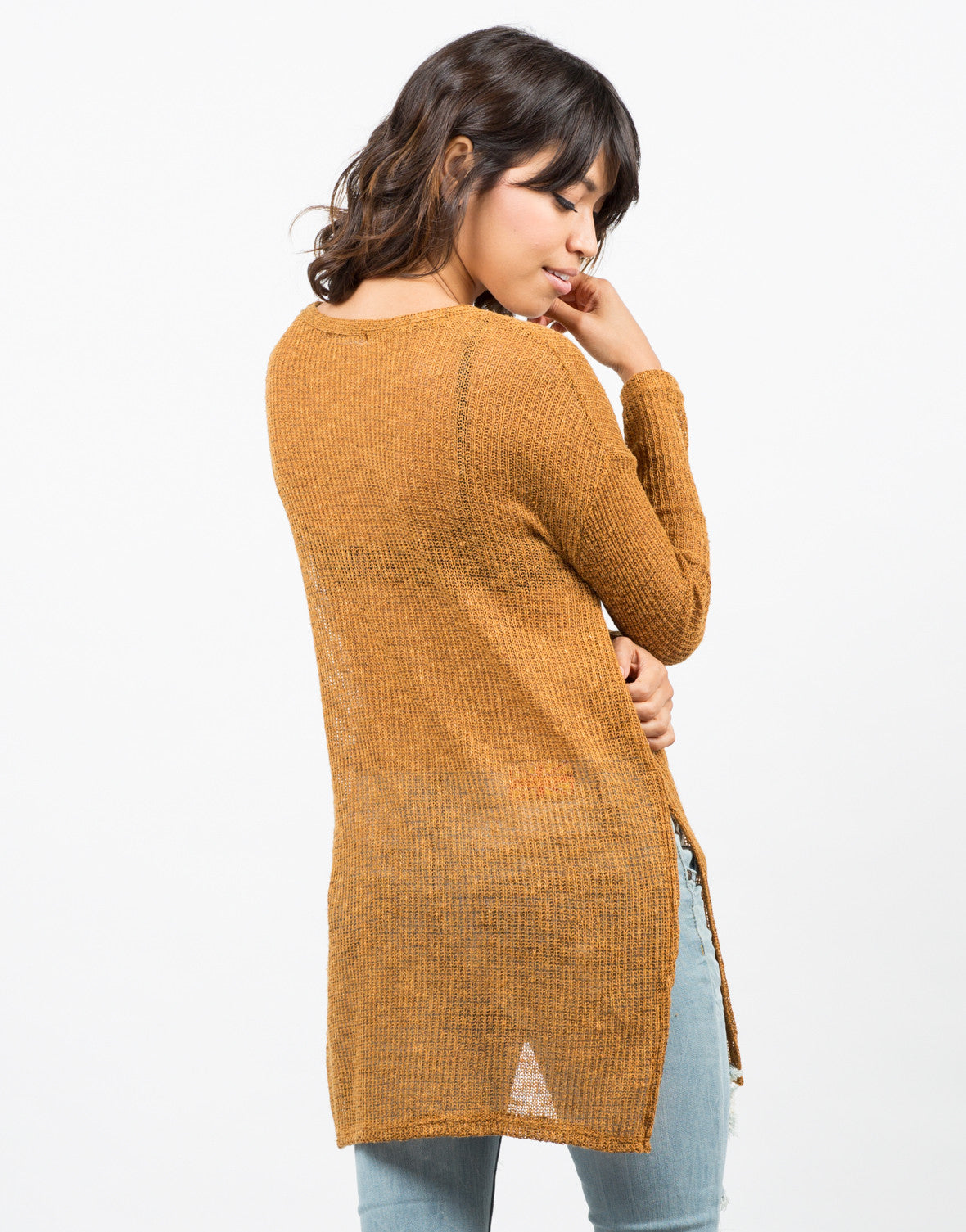 Back View of Lightweight Oversized Sweater