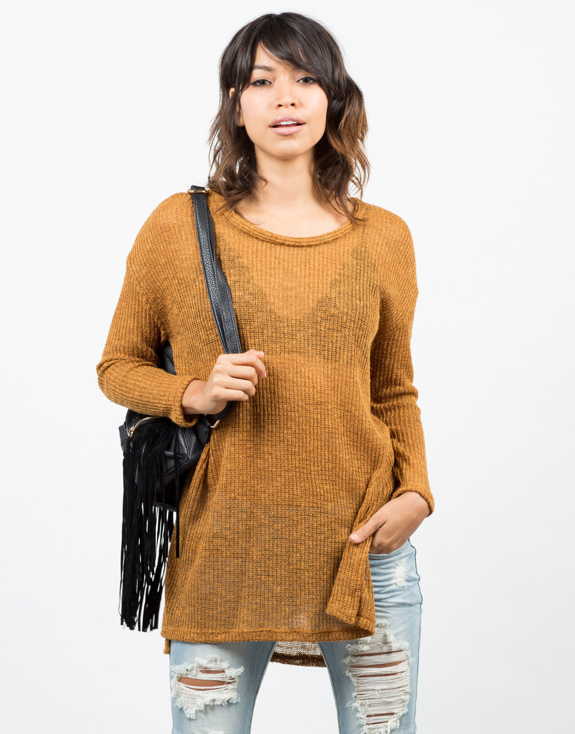 Front View of Lightweight Oversized Sweater