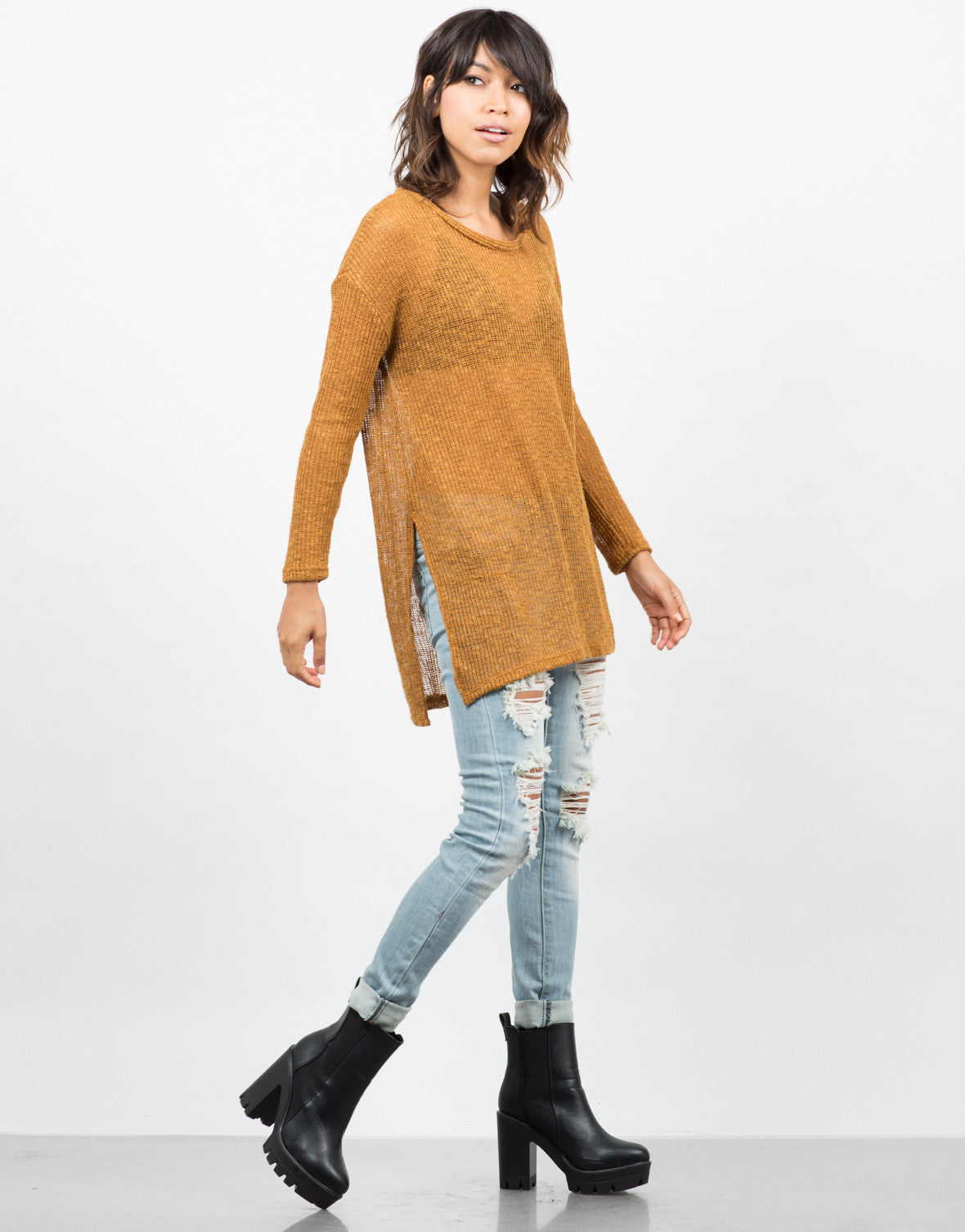 Side View of Lightweight Oversized Sweater