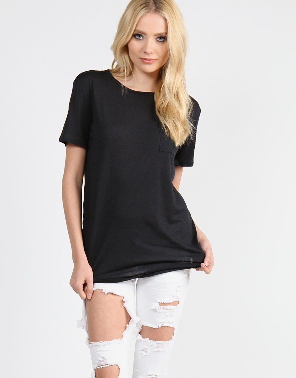 Lightweight Pocket Tunic Tee - Black - Small - 2020AVE