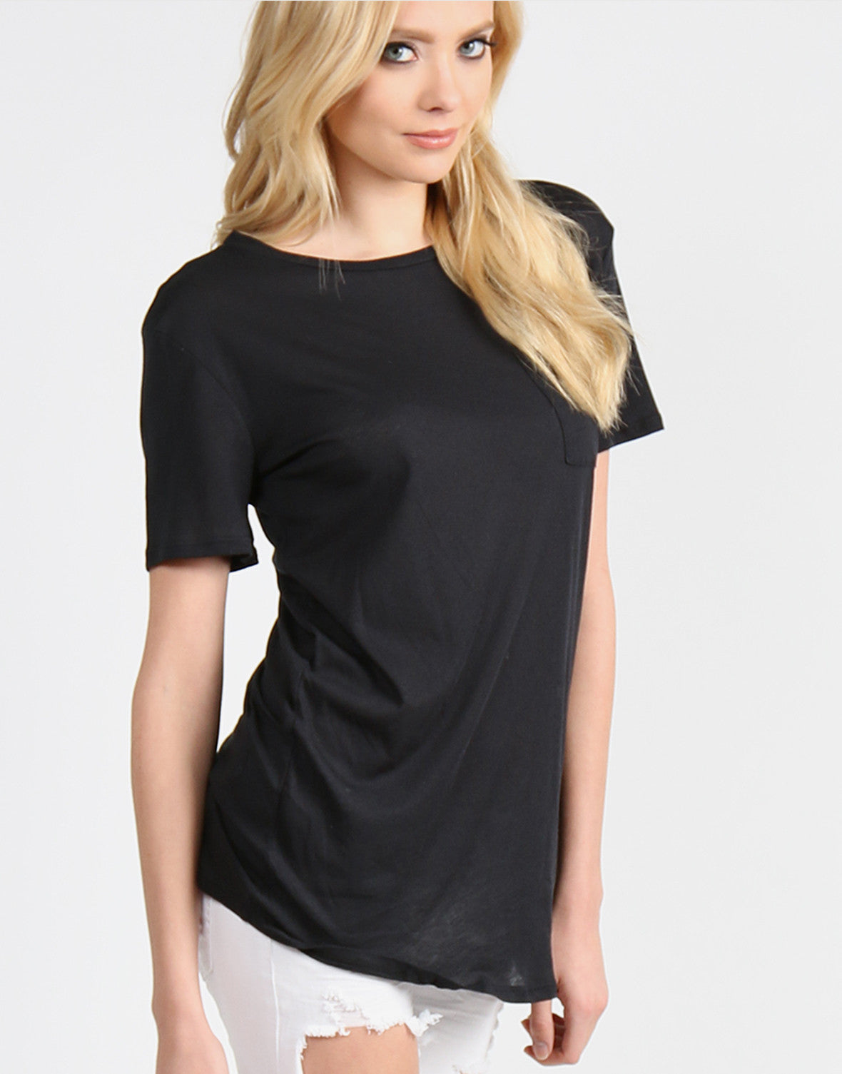 Lightweight Pocket Tunic Tee - Black