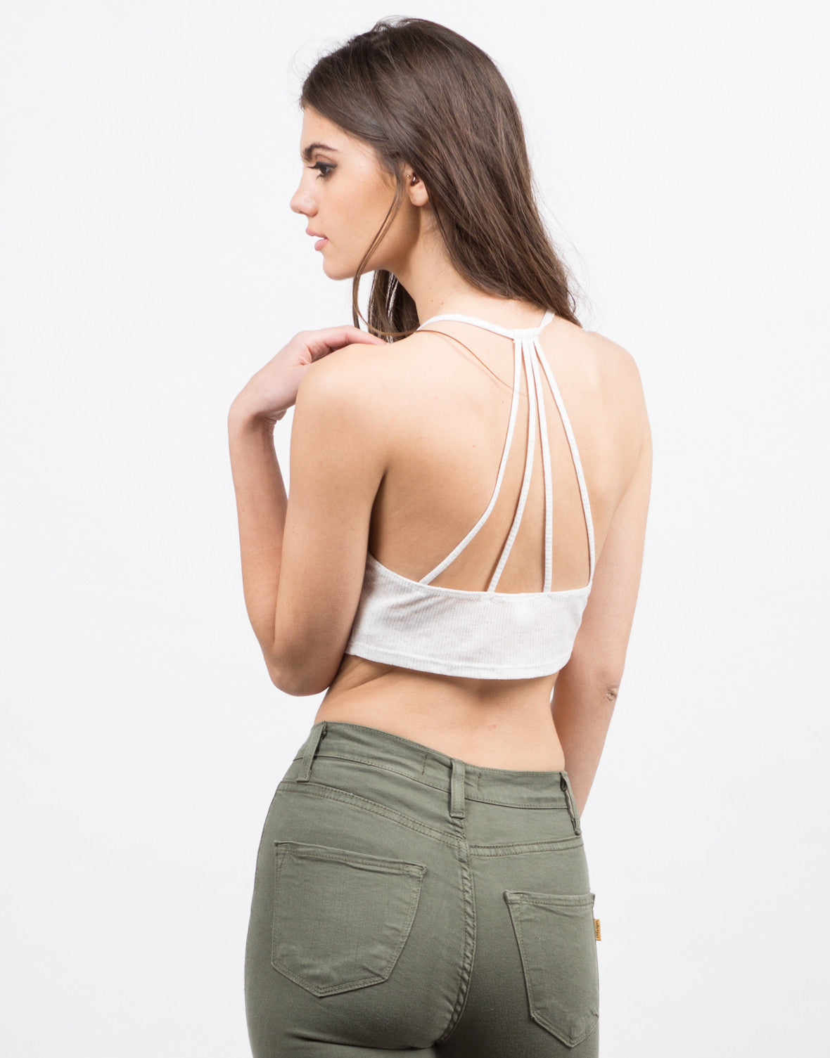 Back View of Lightweight Strappy Crop Top