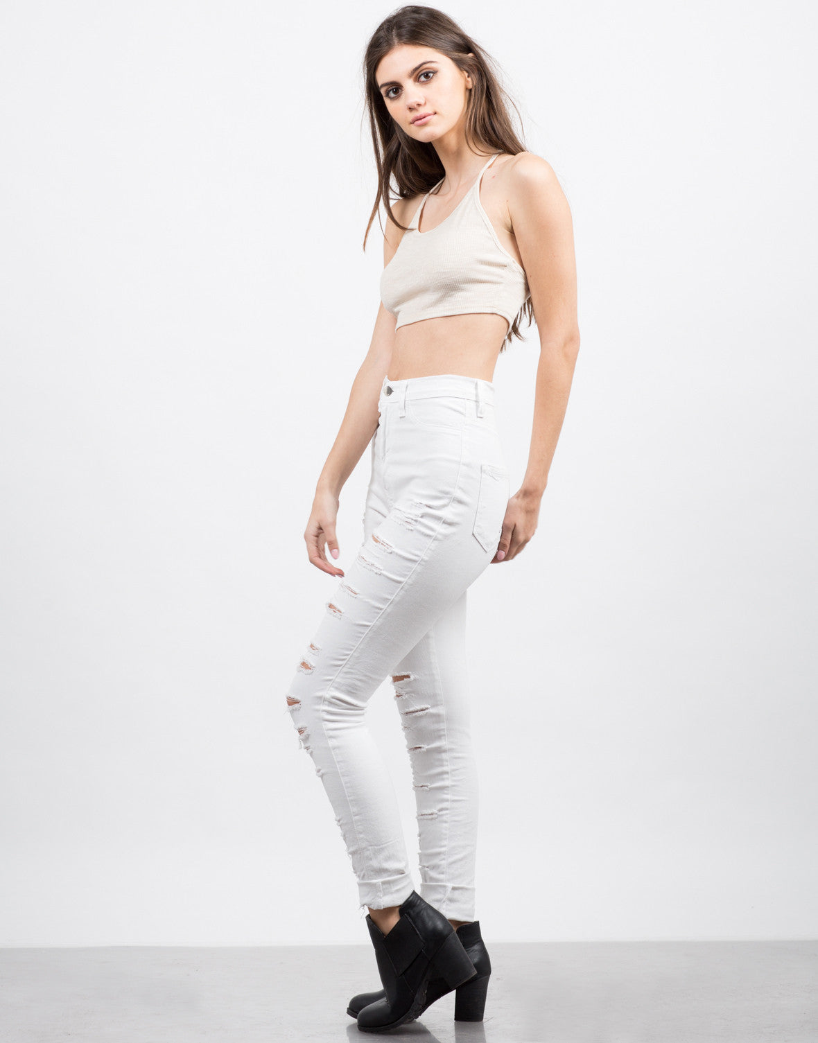 Side View of Lightweight Strappy Crop Top