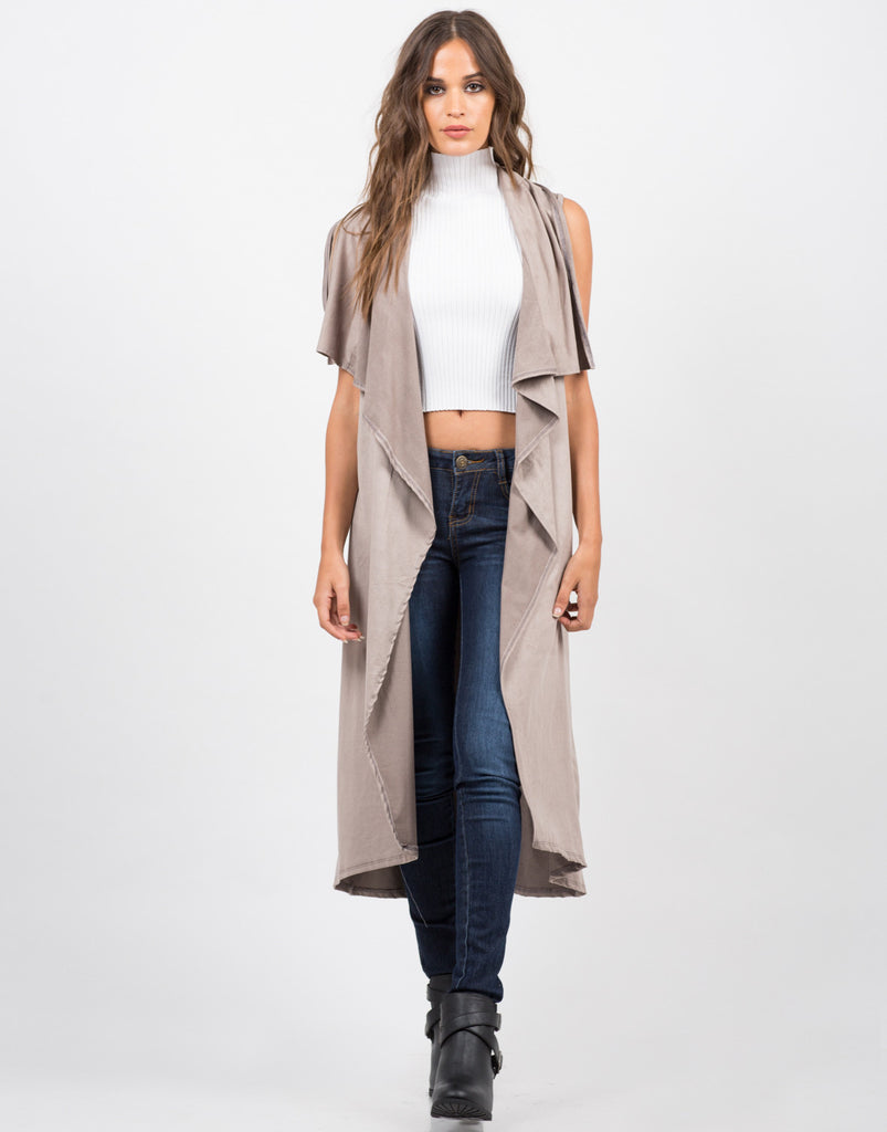 Lightweight Suede Sleeveless Jacket - 2020AVE