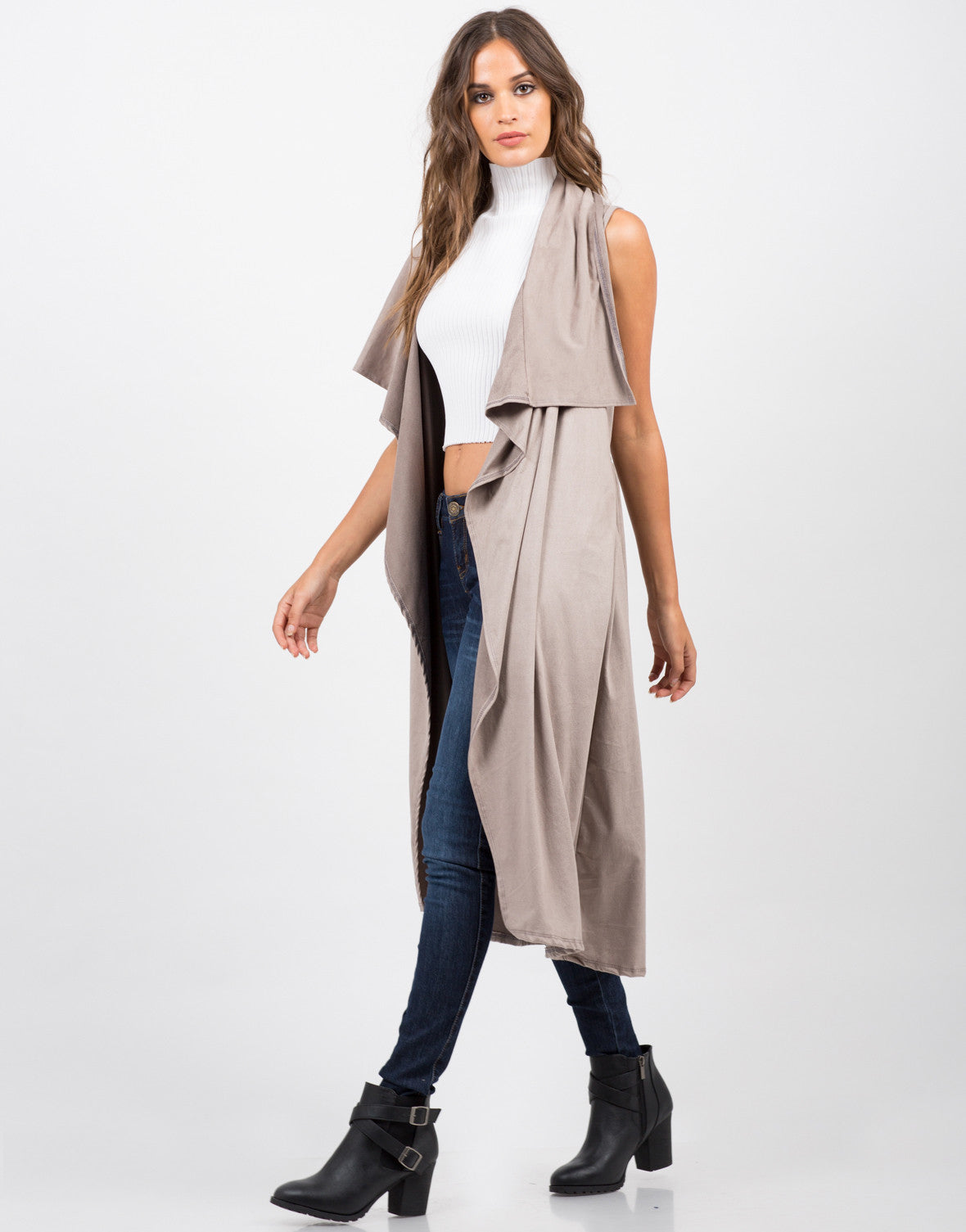 Side View of Lightweight Suede Sleeveless Jacket