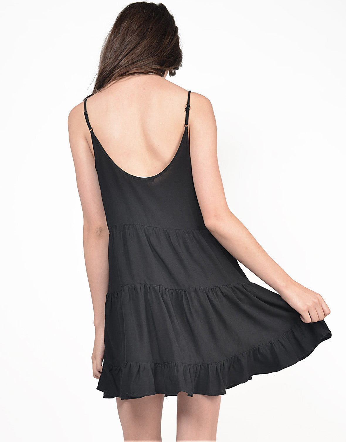 Back View of Lightweight Tiered Babydoll dress