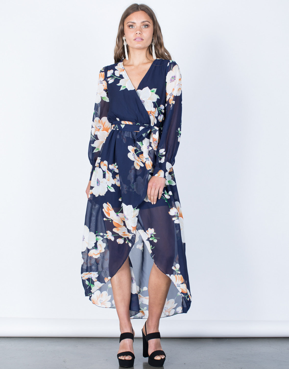 ffd74712e Lily Wrap Dress - Navy Blue Chiffon Dress - Chiffon Floral Maxi ...