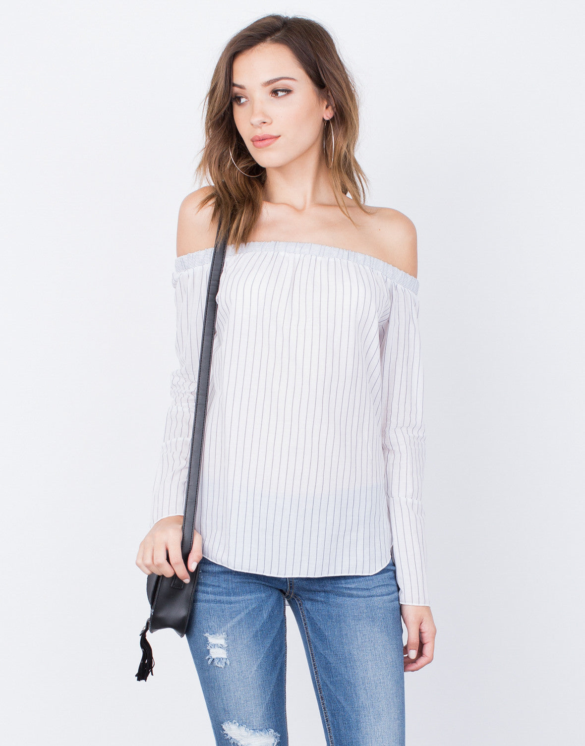 Front View of Lined Up Off-the-Shoulder Top