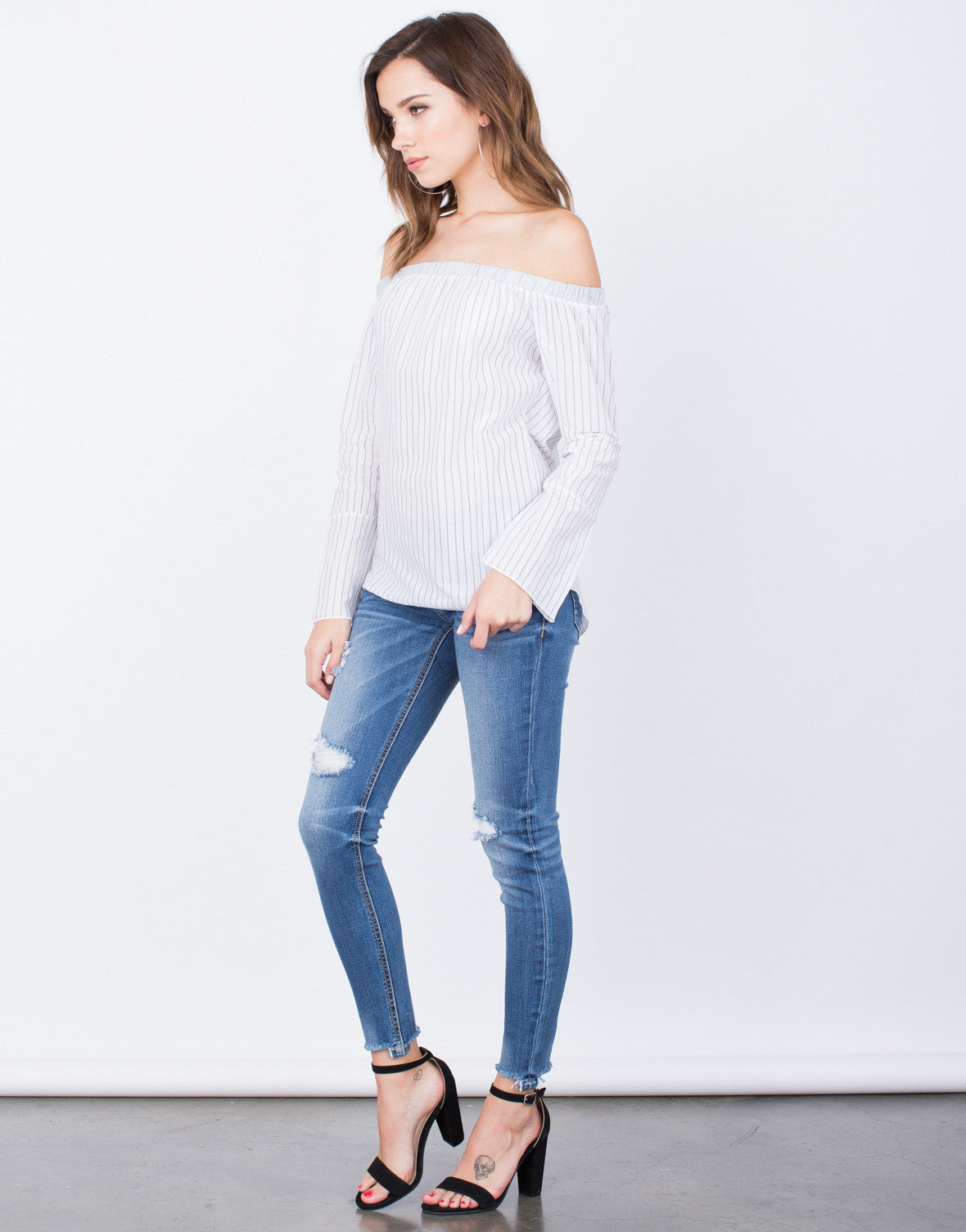 Side View of Lined Up Off-the-Shoulder Top