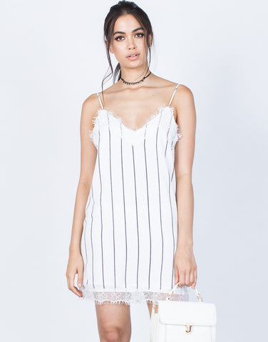 Front View of Lined Up Slip Dress