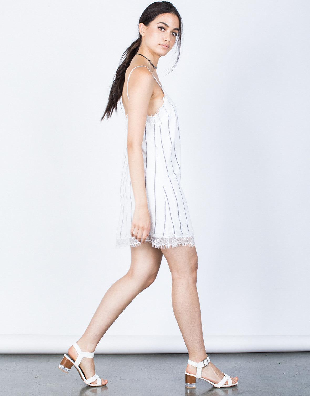 Side View of Lined Up Slip Dress