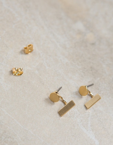 Line Dot Stud Earrings - 2020AVE