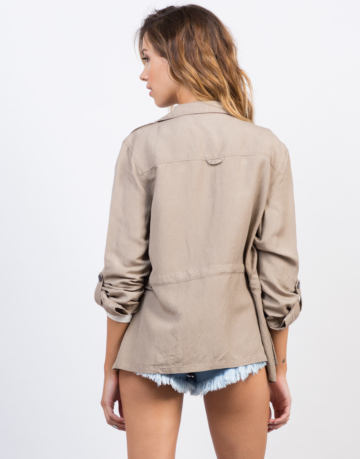 Back View of Linen Cargo Jacket