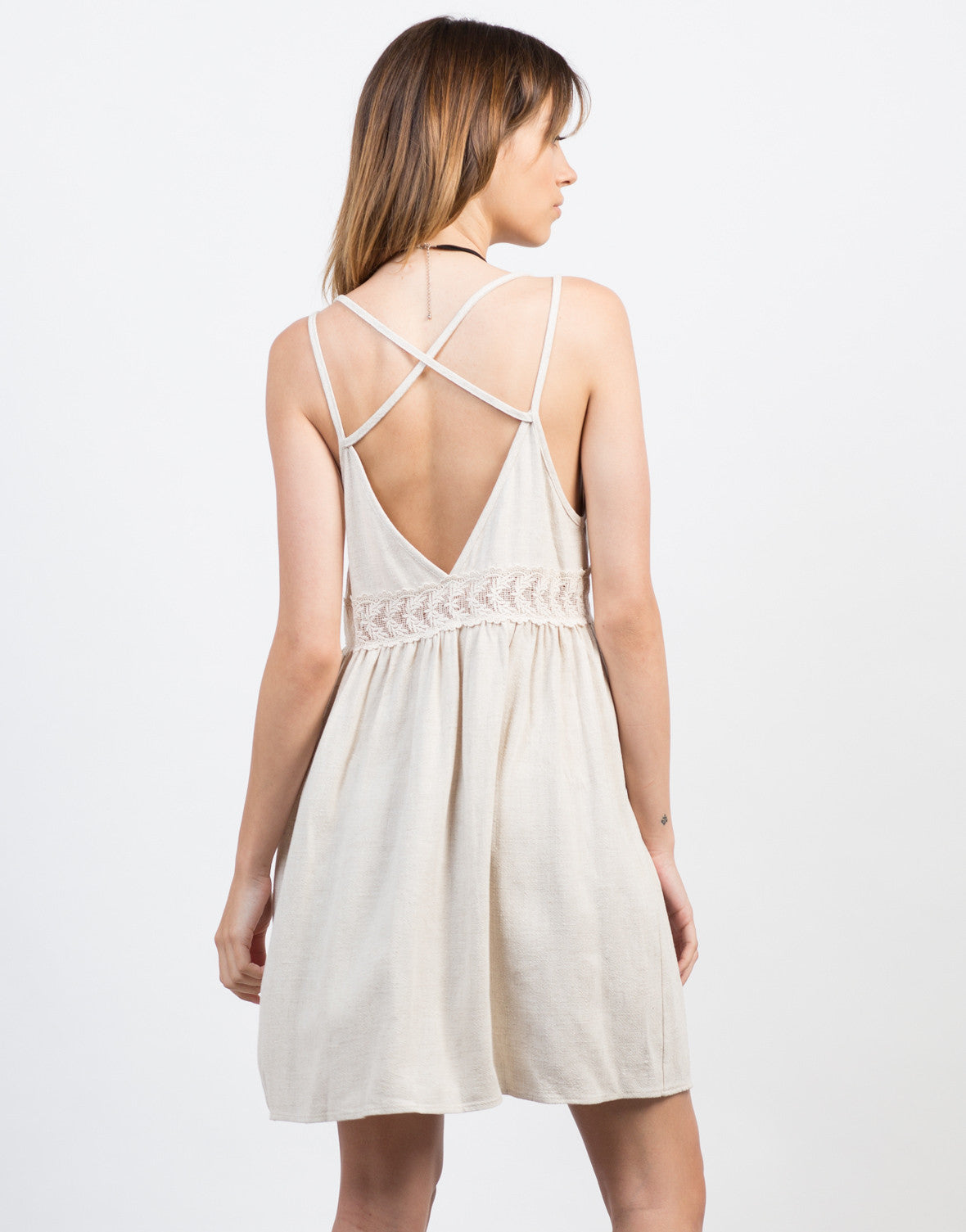 Back View of Linen Crochet Dress
