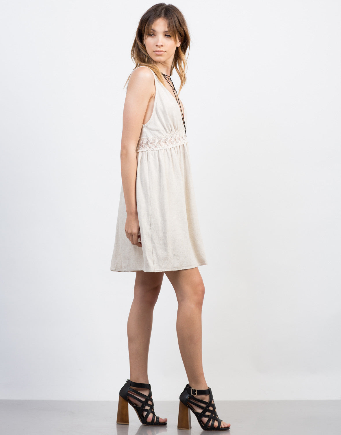 Side View of Linen Crochet Dress