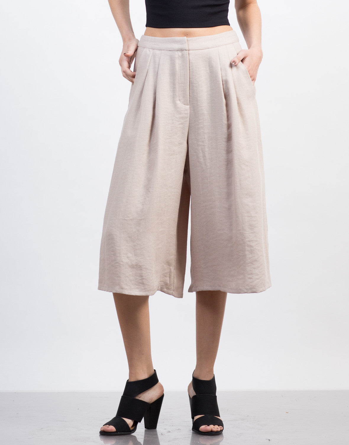 Front View of Linen Culotte Pants