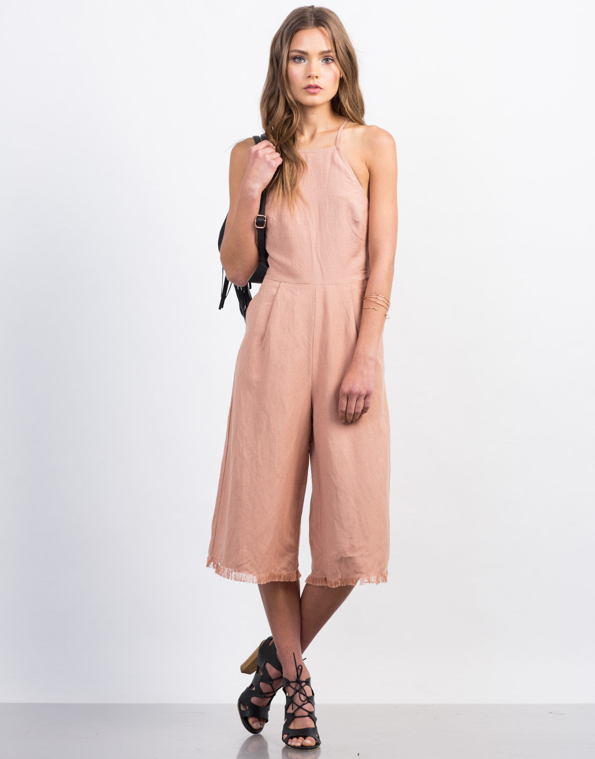 Front View of Linen Frayed Jumpsuit