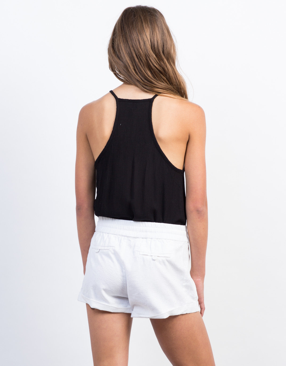 Back View of Linen Jogger Shorts