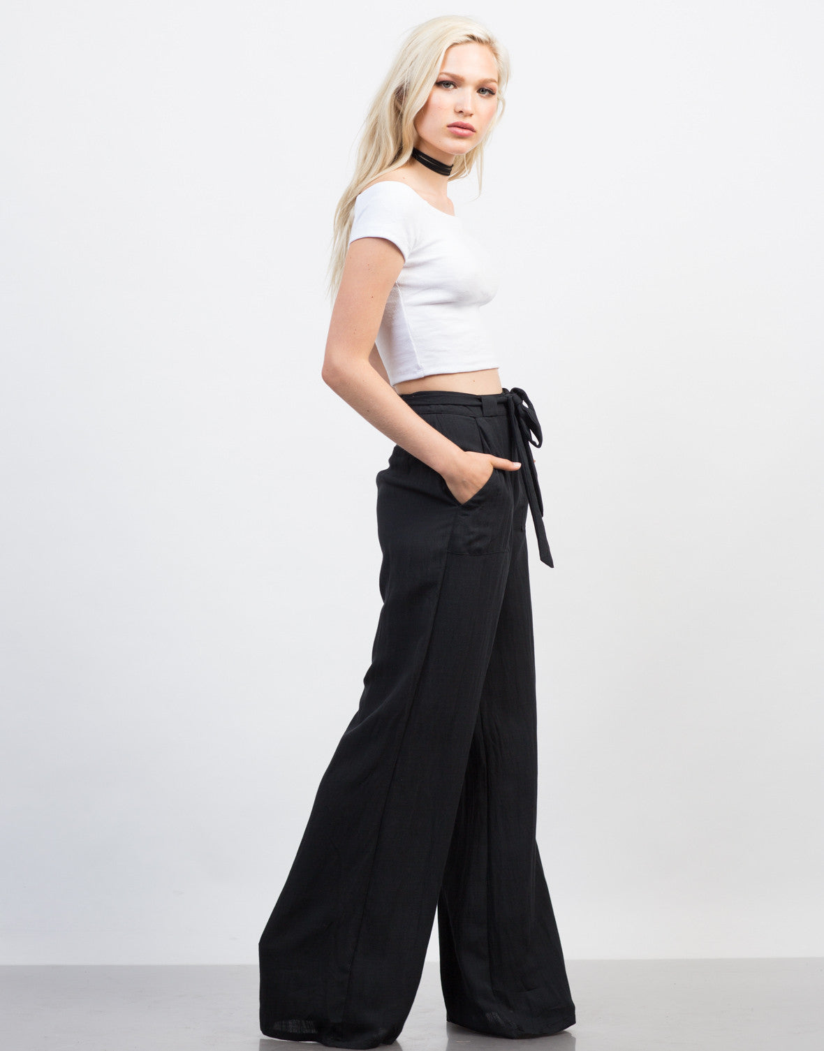 Side View of Linen Palazzo Pants