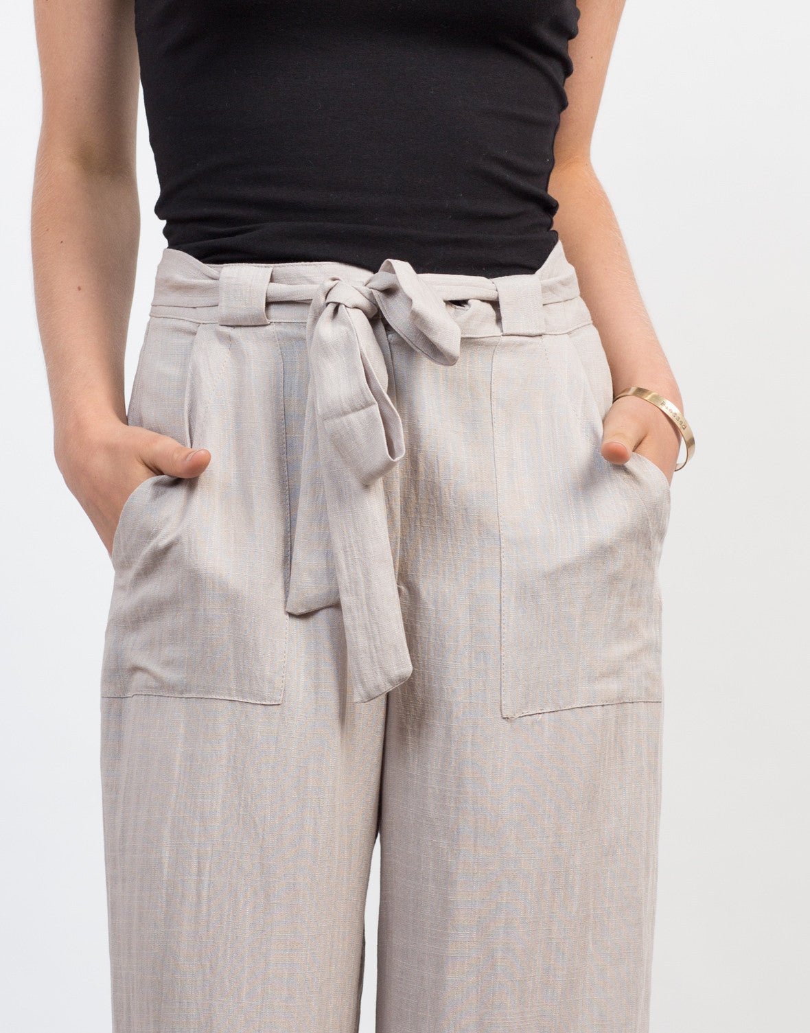 Detail of Linen Palazzo Pants