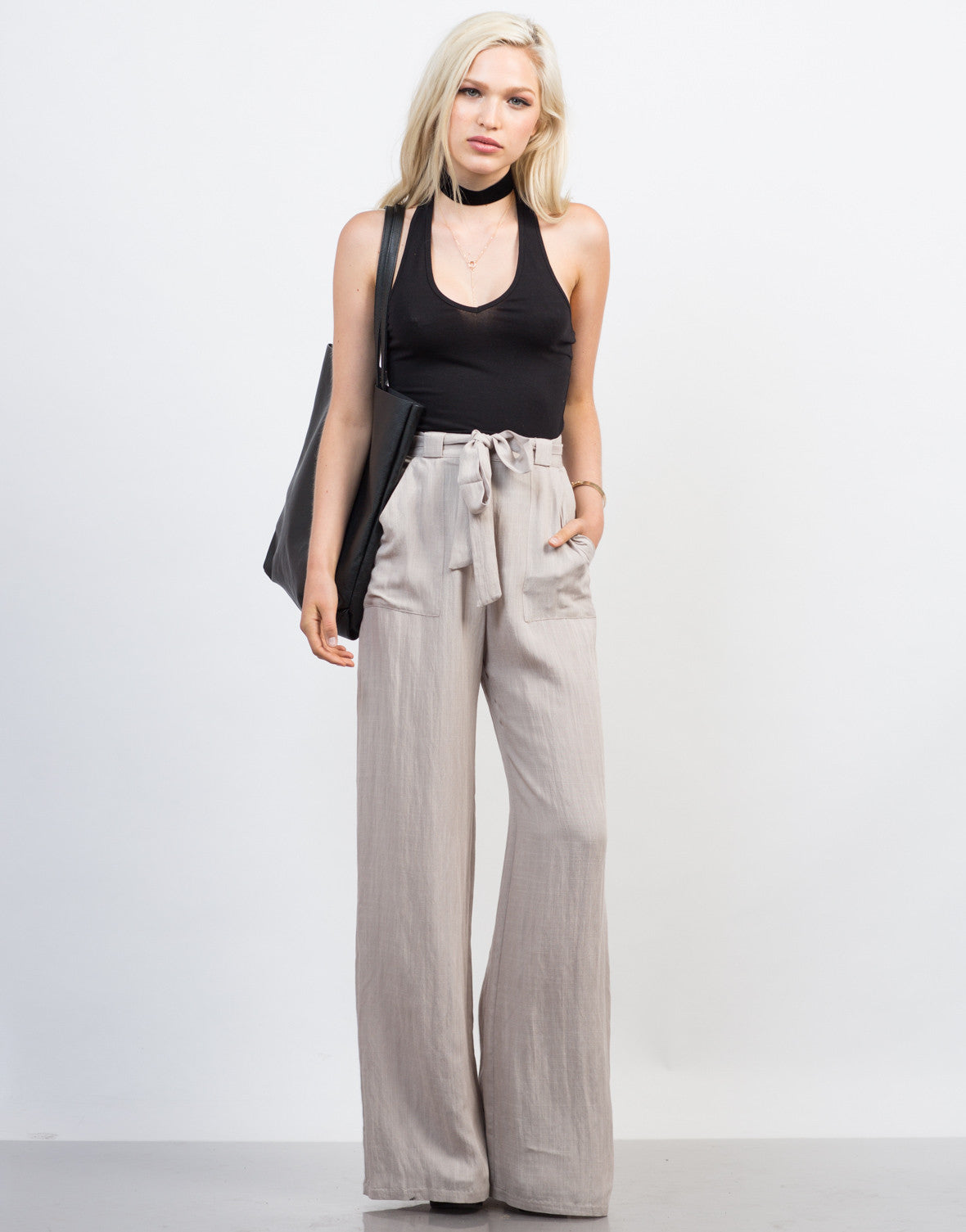 Front View of Linen Palazzo Pants