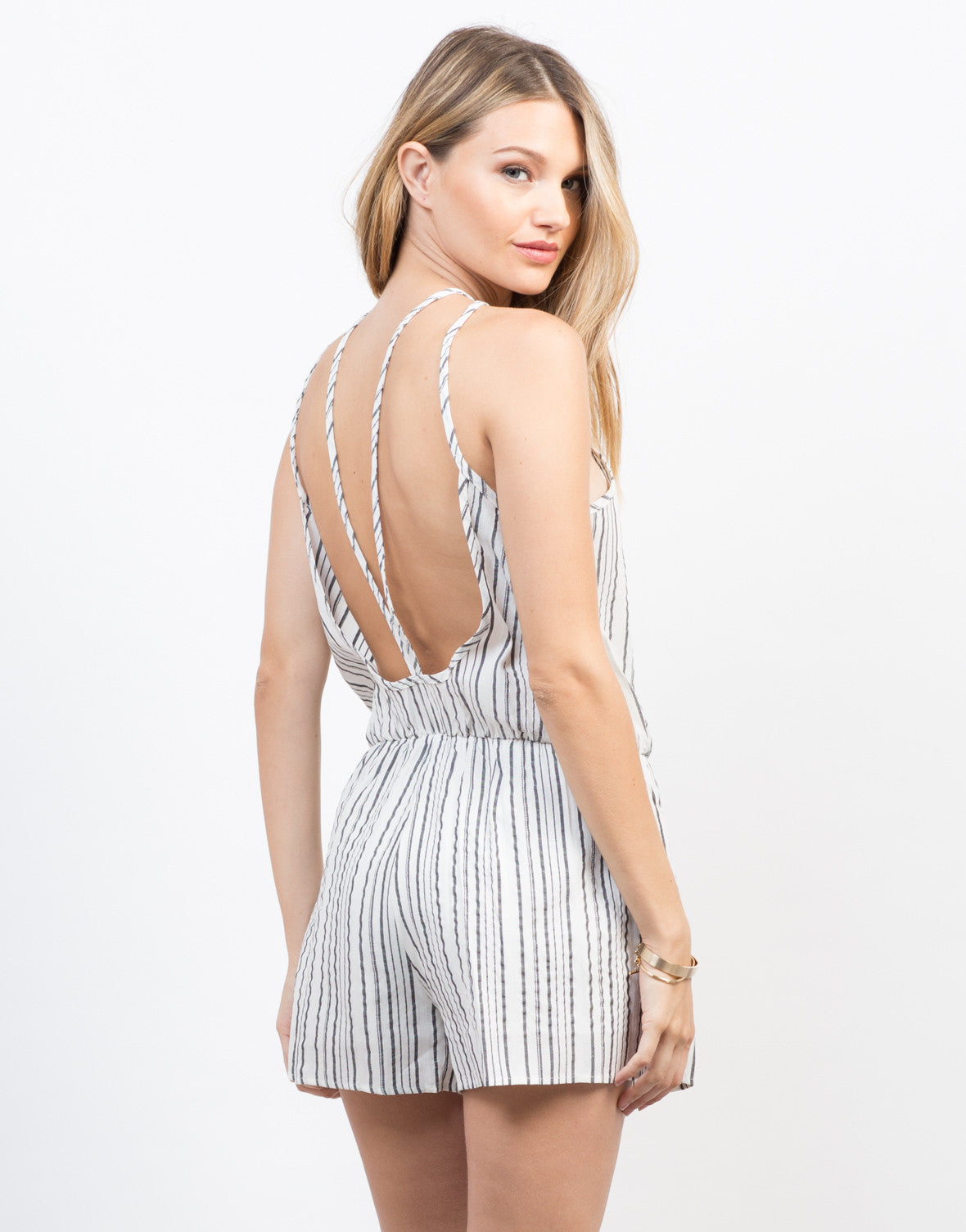 Back View of Linen Striped Romper