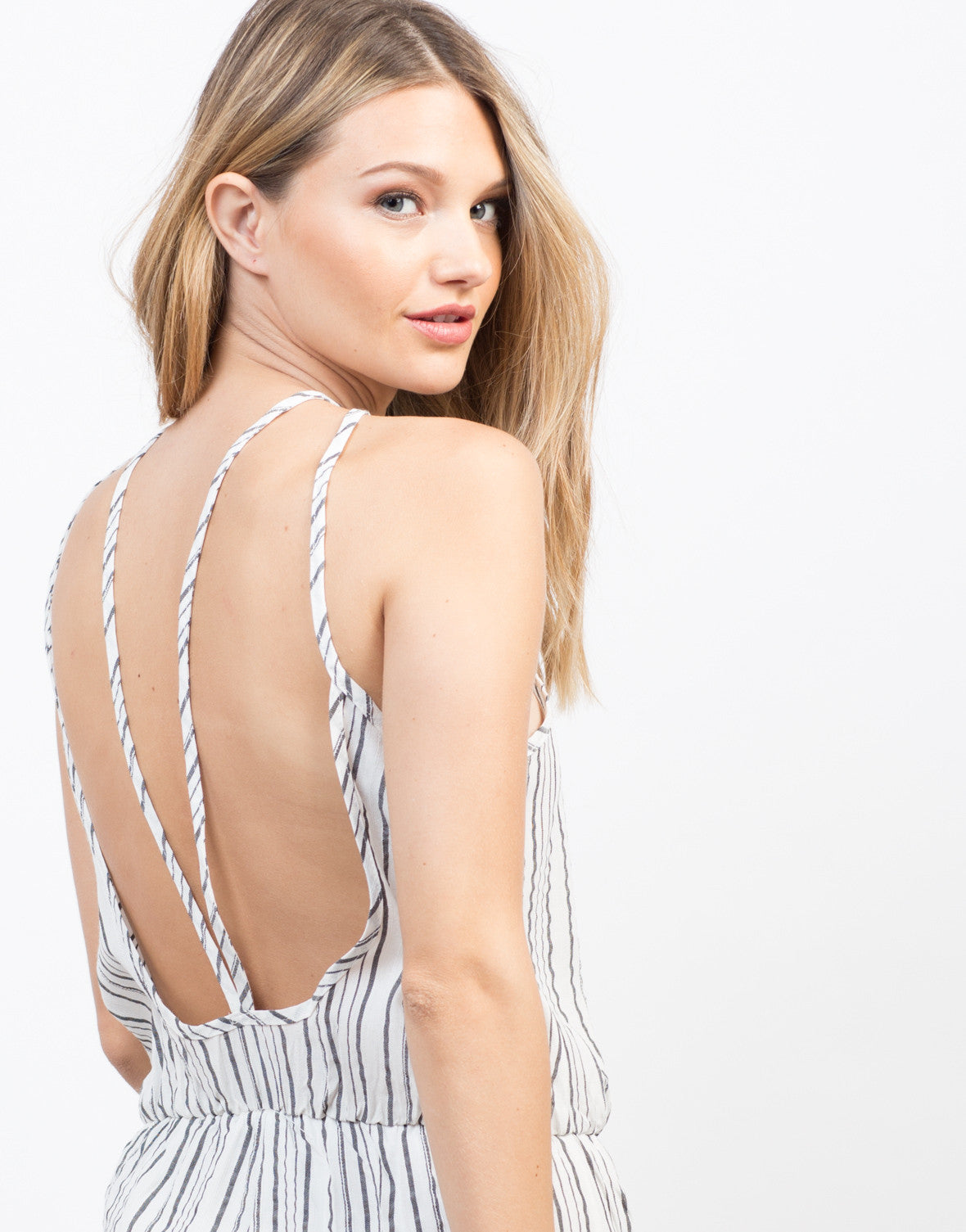Detail of Linen Striped Romper