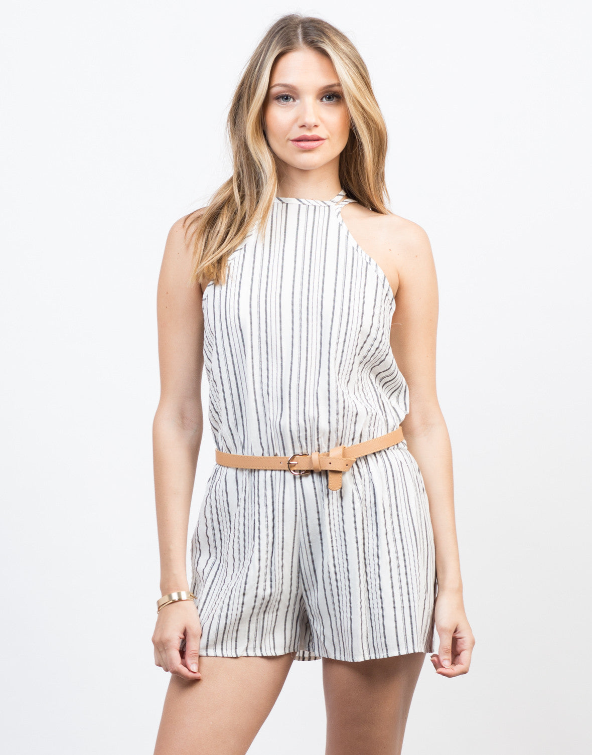 Front View of Linen Striped Romper