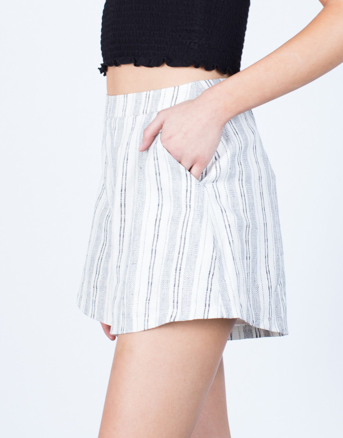 Detail of Linen Striped Shorts