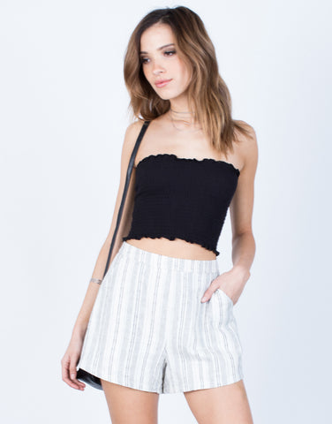 Front View of Linen Striped Shorts