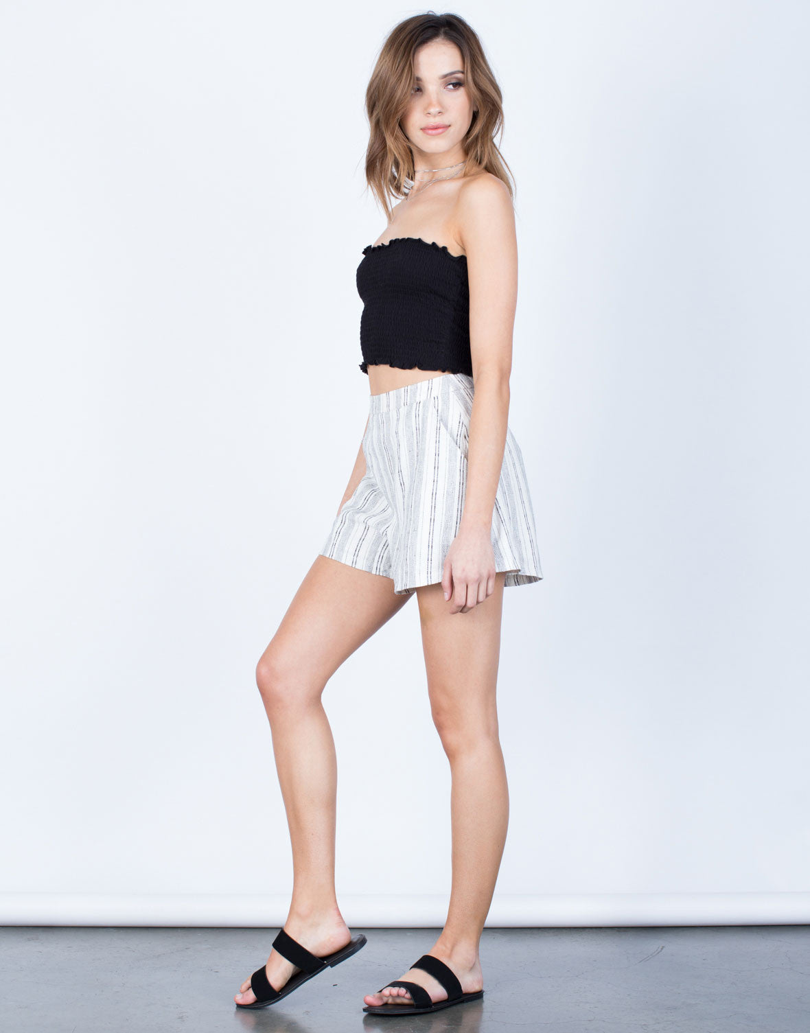 Side View of Linen Striped Shorts