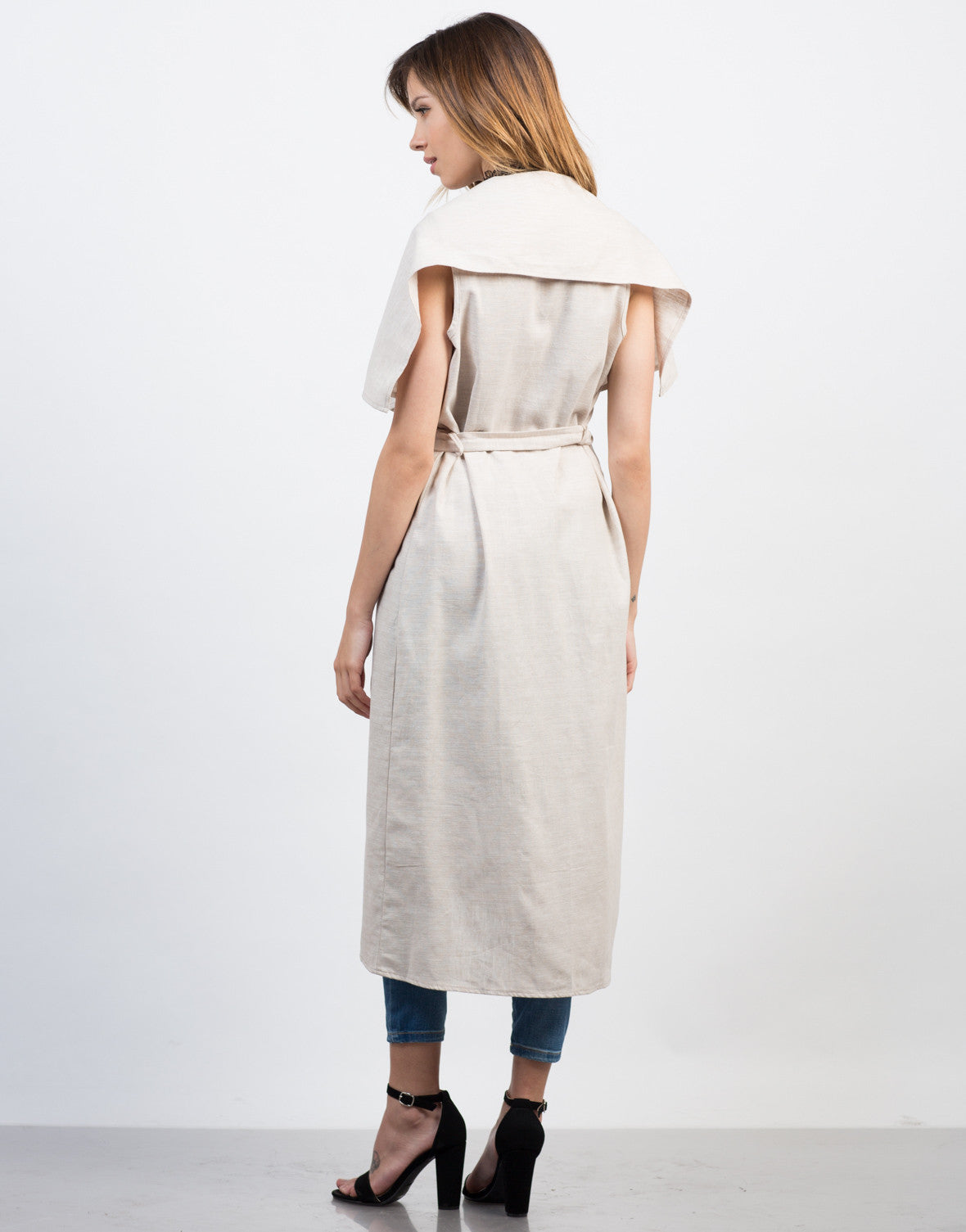 Back View of Linen Trench Jacket
