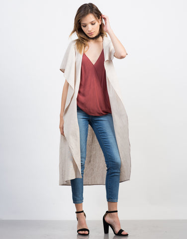 Front View of Linen Trench Jacket