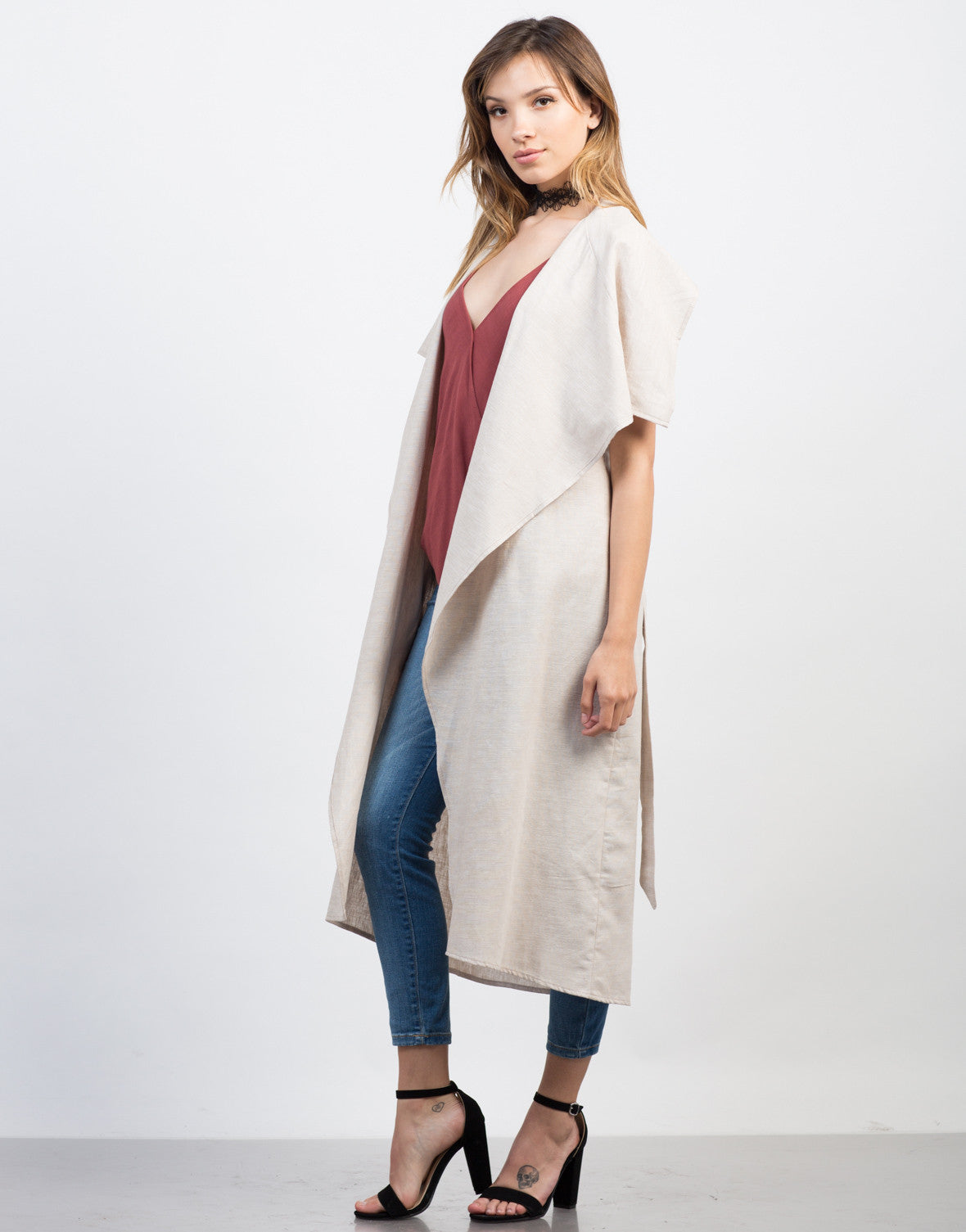 Side View of Linen Trench Jacket