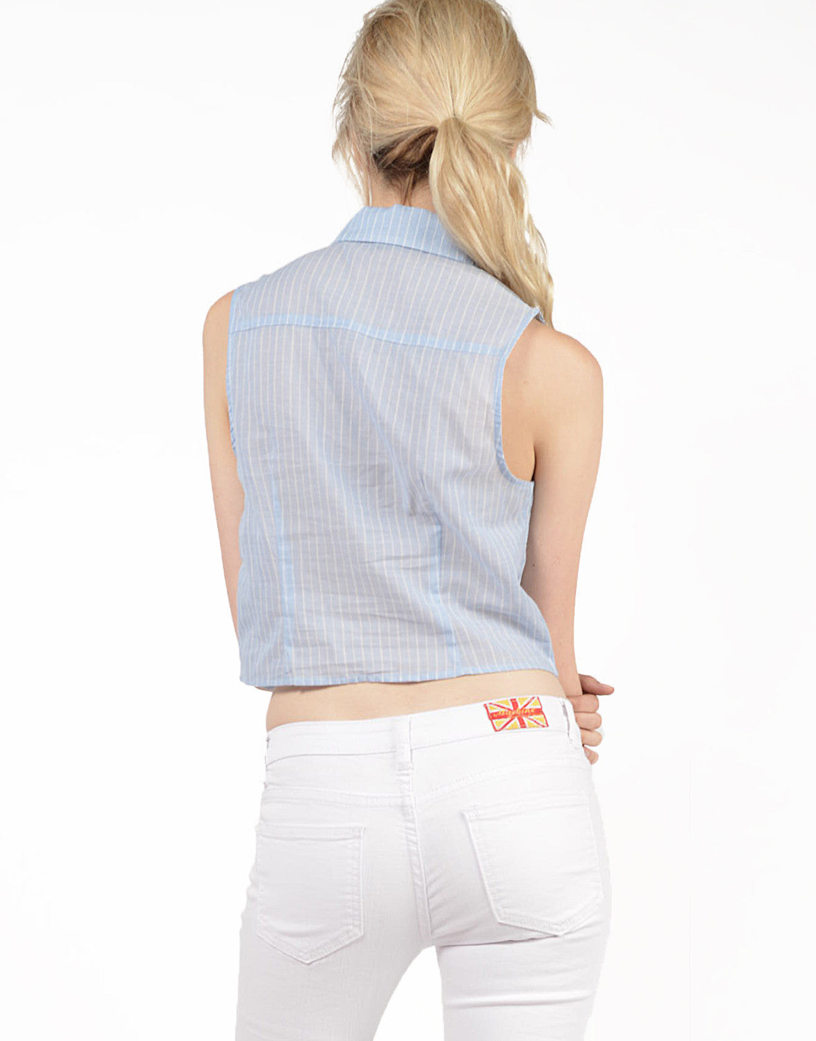 Back View of Linen Striped Blouse