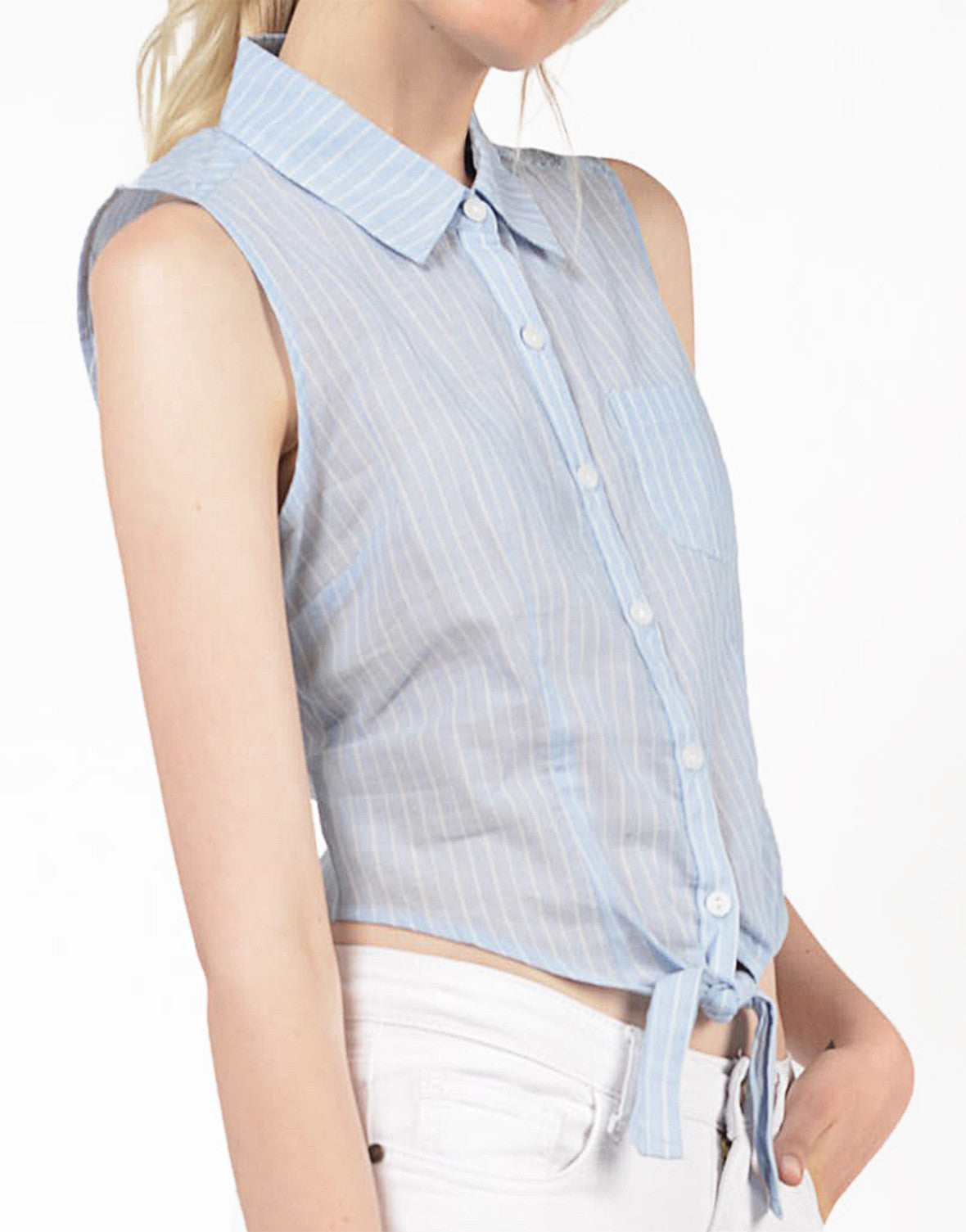Detail of Linen Striped Blouse