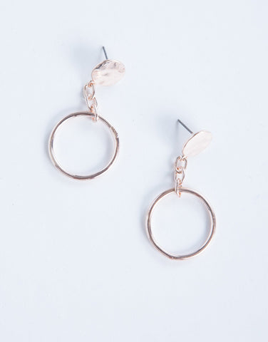 Rose Gold Linked Ring Earrings - Front View