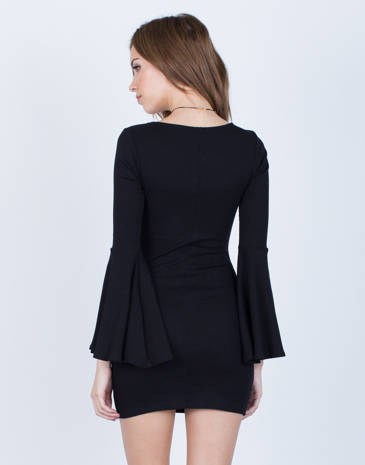 Back View of Little Black Bell Sleeve Dress