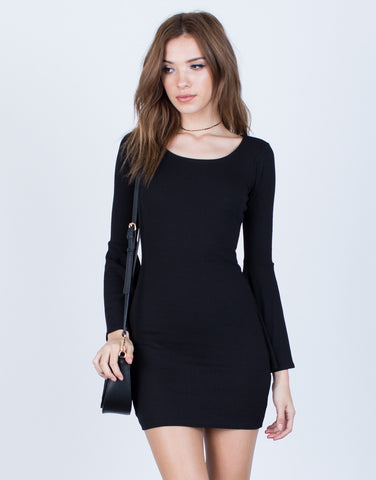 Front View of Little Black Bell Sleeve Dress