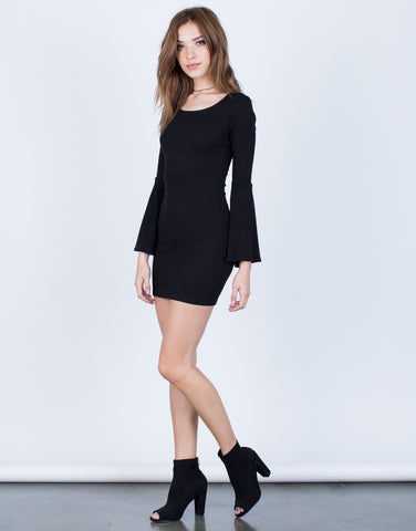 Side View of Little Black Bell Sleeve Dress