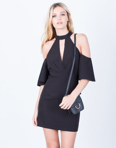 Front View of Little Cold Shoulder Dress