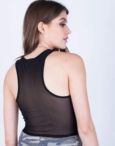 Detail of Little Black Mesh Tank