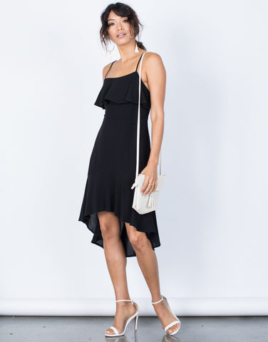 Black Little Black Ruffled Dress - Front View