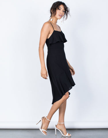 Black Little Black Ruffled Dress - Side View
