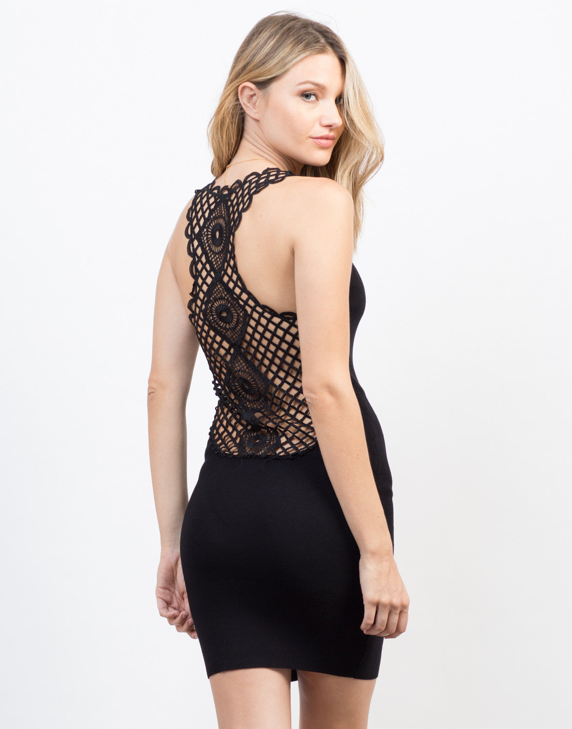 Back View of Little Crochet Black Dress