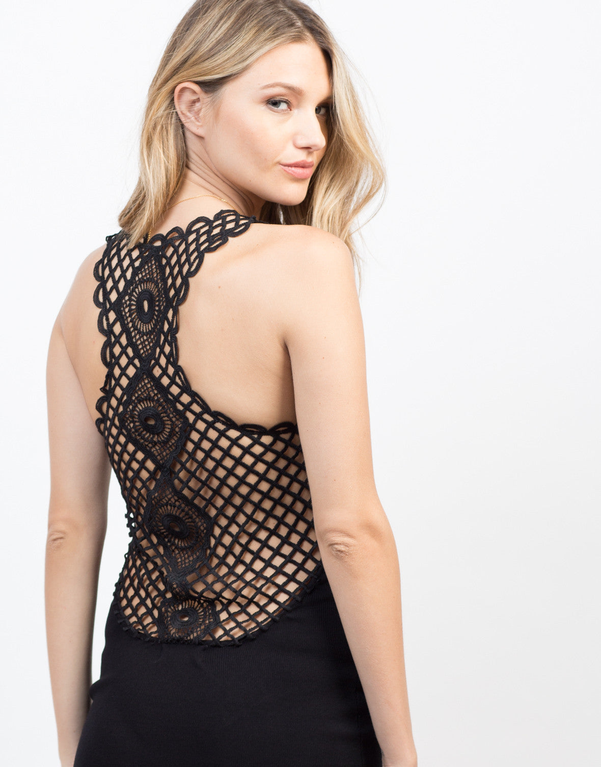 Detail of Little Crochet Black Dress