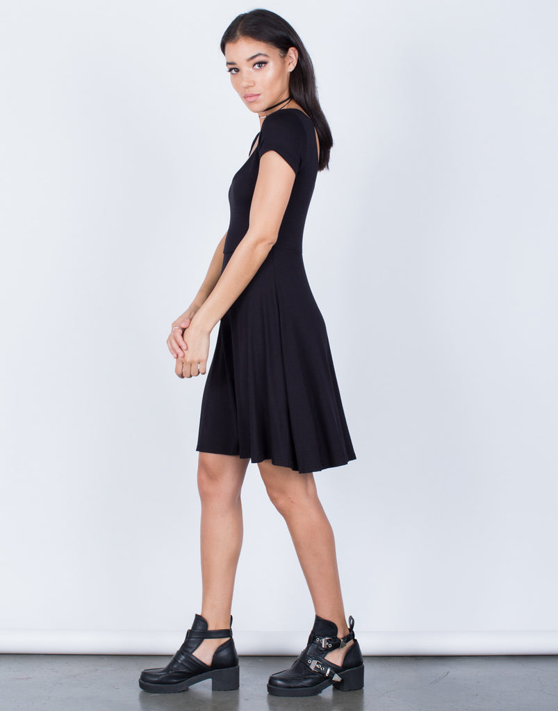 Side View of Little Flowy Knit Dress