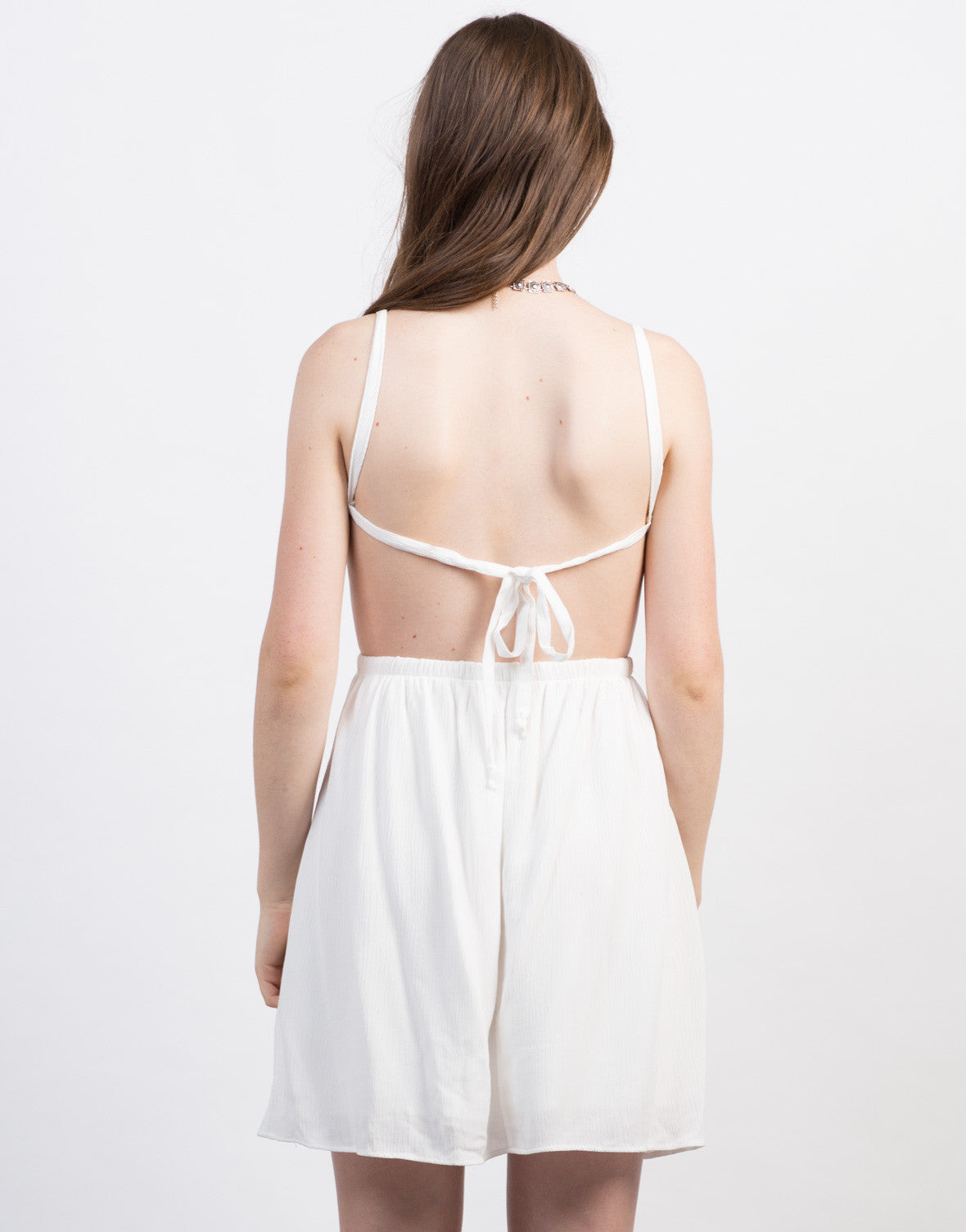 Back View of Little Open Back Crochet Dress