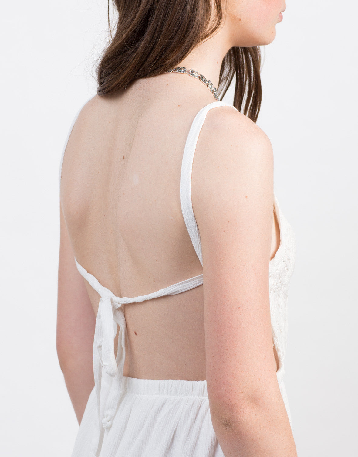 Detail of Little Open Back Crochet Dress